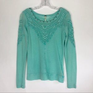 Free People | Aqua Blue Lace Panel Long Sleeve Top